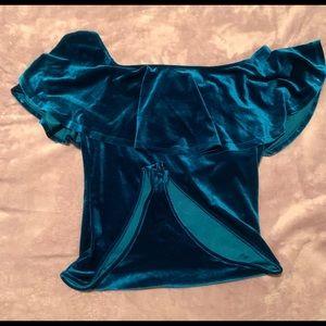 Forever 21 Tops - Beautiful blue turquoise velvet off shoulders
